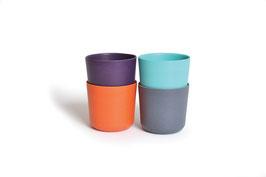 Set de 4 gobelets Bambino by Biobu variante prune/orange/orange/turquoise