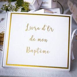 Livre d'Or Baptême Ivoire et Doré