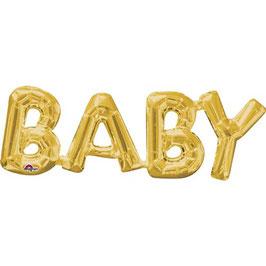 """Ballon métallique doré mot """"Baby"""" en majuscule"""