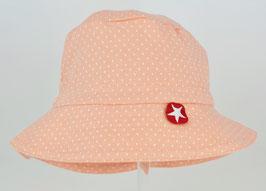 chapeau fond rose poudré pois blanc marque Kik kid