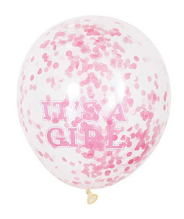 "6 ballons transparents avec écriture ""It's a girl"" et confettis roses"