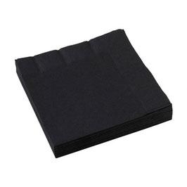 20 serviettes en papier coloris noir