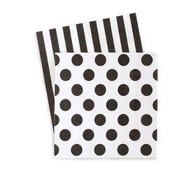 20 petites serviettes rayures et pois noirs et blancs