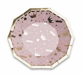 8 Petites assiettes rose pastel avec couronnes dorées
