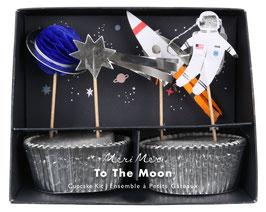 Kit 24 caissettes argent et 24 cake toppers espace meri meri