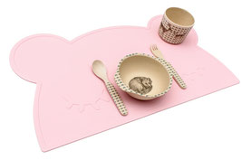 Set de table en silicone ours rose pastel We might be tiny