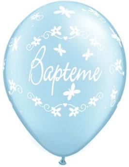 5 Ballons Baptême bleus métallisés écriture blanche