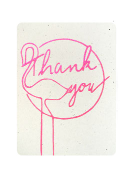 "Carte ""Thank you "" avec flamant rose paillettes rose fluo"