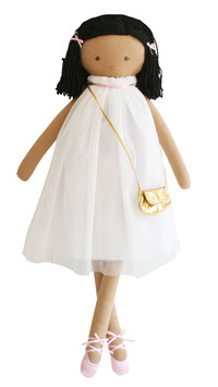 Poupée en tissu avec tutu ivoire, cheveux en laine et petit sac doré Alimrose 64cms