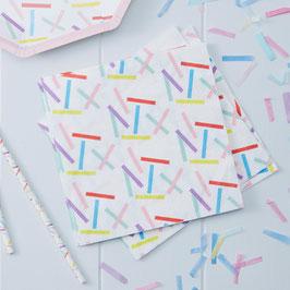 20 serviettes en papier blanc motifs plumetis pastels