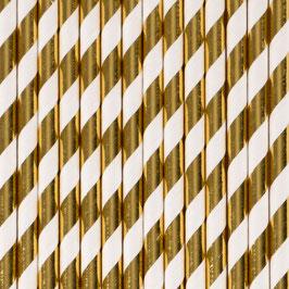 Pailles en papier rayures blanc et or
