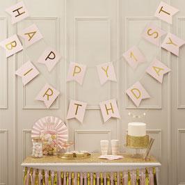 """Guirlande Anniversaire 1 an """"Happy 1st Birthday """" Rose Doré"""