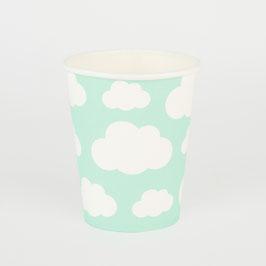 8 gobelets vert menthe avec nuages blancs My little day