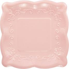 8 petites assiettes carrées dessin en relief rose pastel