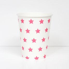 8 gobelets en carton étoiles fuchsias my little day