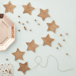 Guirlande étoiles paillettes rose gold