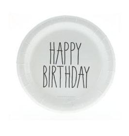 """12 petites assiettes blanches écritures """"Happy Birthday"""" noir"""