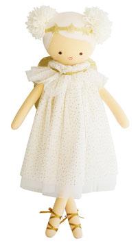 Poupée Angel avec robe ivoire plumetis dorés et ailes dorées Alimrose