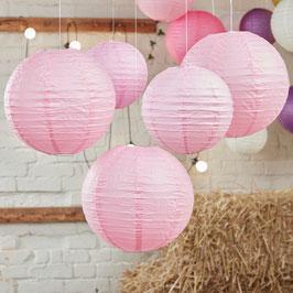 5 lampions en papier rose clair
