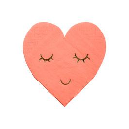 16 petites serviettes coeurs rose avec visage doré meri meri