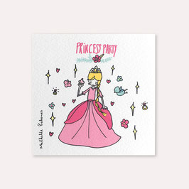 6 invitations anniversaire Princesse avec 6 enveloppes blanches , Mathilde Cabanas