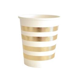 10 gobelets fond blanc rayures dorées