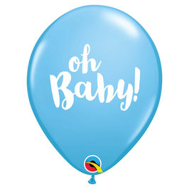 "5 ballons bleus écriture ""Oh Baby "" blanche"