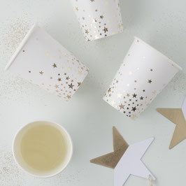 8 gobelets en carton fond blanc étoiles dorées