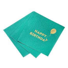 """16 petites serviettes vertes écriture """"Happy birthday"""" avec ballon doré"""