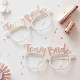"""8 lunettes en carton rose pastel écriture """"team bride"""" pour evjf"""