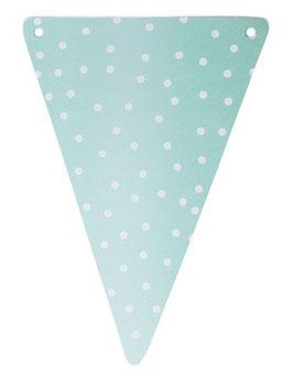 5 fanions triangles vert menthe pois blancs pour guirlande