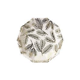 8 petites assiettes canapé octogonales avec feuillage doré Meri Meri
