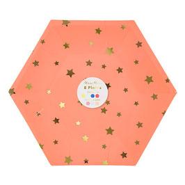 8 assiettes octogonales tons pastels et fluos étoiles dorées Meri Meri