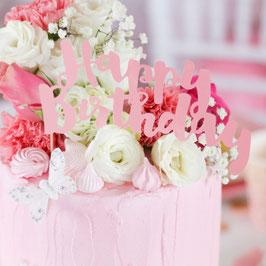 Décoration gateau Happy Birthday rose pastel