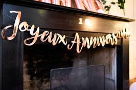 """Guirlande décorative rose gold écriture """"Joyeux anniversaire"""""""