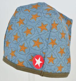 bonnet fond bleu foncé étoiles marrons marque Kik kid