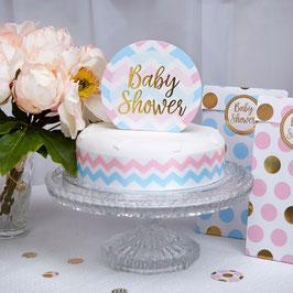 """Décoration gateau Cake topper """"Baby Shower"""" bleu et rose"""