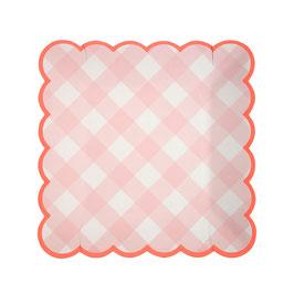 12 petites assiettes vichy rose bord corail meri meri