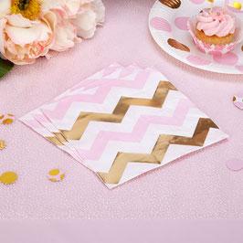 16 serviettes chevrons dorés et roses