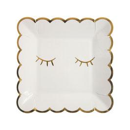 8 assiettes carrées ivoires avec cils dorés meri meri