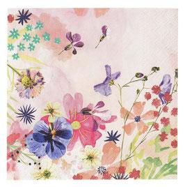 20 Petites Serviettes Fleurs Pastels