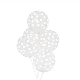 5 Ballons transparents imprimés pois blancs my little day
