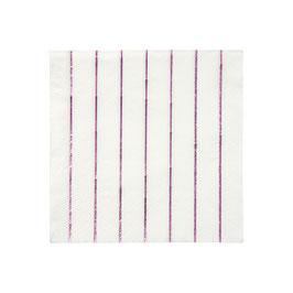 16 petites serviettes blanches rayures roses métallisées meri meri