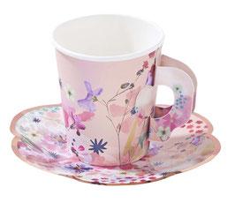 12 Gobelets Tasses avec soucoupes Fleurs Pastels