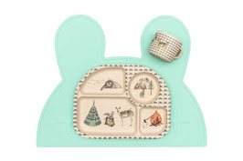 Set de table en silicone lapin vert menthe We might be tiny