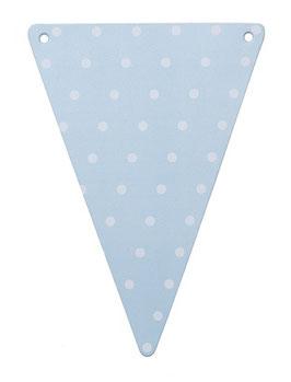 5 fanions triangles bleu ciel pois blancs pour guirlande fanions