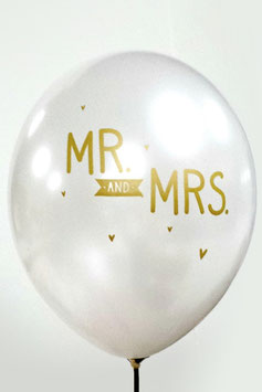 "Pack de 6 ballons ""Mr &Mrs"" A little Lovely Company"