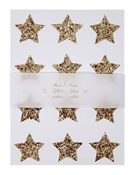 120 stickers étoiles paillettes dorées meri meri