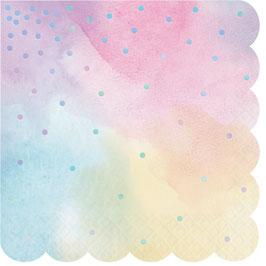 16 Grandes Serviettes Pastels Pois Irisés