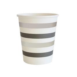 10 gobelets rayés noir et argent